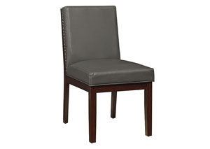 Couture Elegance Grey Upholstered Side Chair (Set of 2)