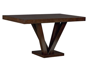 Couture Elegance Dark Chocolate Pedestal Counter Height Table