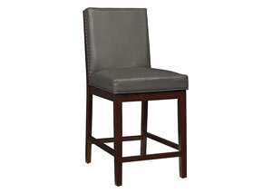 Couture Elegance Grey Upholstered Counter Height Chair (Set of 2)