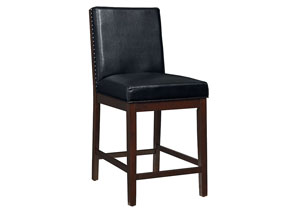Couture Elegance Black Upholstered Counter Height Chair (Set of 2)