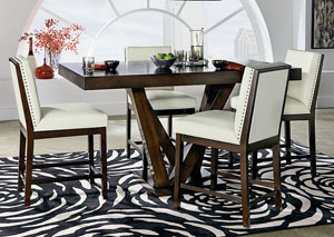 Couture Elegance Dark Chocolate Counter Height Pedestal Table w/4 White Counter Height Chairs