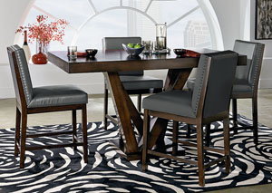 Couture Elegance Dark Chocolate Counter Height Pedestal Table w/4 Gray Counter Height Chairs
