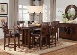 Artisan Loft Extension Counter Height Table w/2 Counter Height Arm Chairs & 4 Counter Height Side Chairs