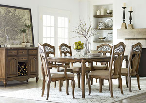 Monterey Burnished Caramel Extension Dining Table w/2 Arm Chairs and 4 Side Chairs