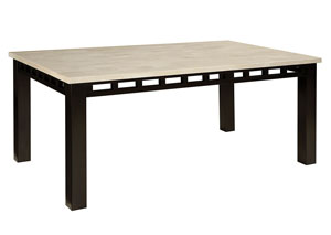 Gateway Dark Chicory Brown Rectangular Table w/White Marble Top