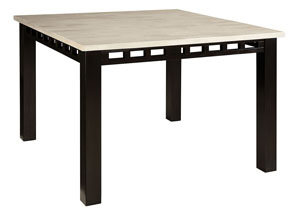 Gateway Dark Chicory Brown Counter Height Table w/White Marble Top