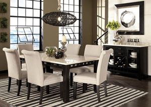 Gateway Dark Chicory Brown White Marble-Top Dining Room Table w/6 Parsons Chairs