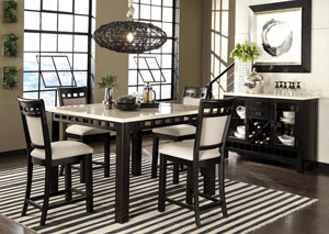 Gateway Dark Chicory Brown Counter Height White Marble-Top Table w/4 Barstools