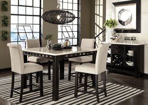 Gateway Dark Chicory Brown Counter Height White Marble-Top Table w/4 Parson Upholstered Barstools