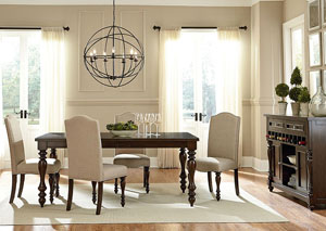 McGregor Dark Midnight Brown Dining Room Table w/4 Upholstered Side Chairs