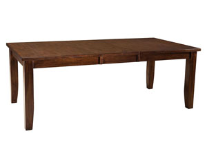 Abaco Warm Dark Tobacco Brown Dining Table w/18' Leaf