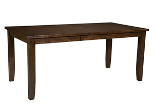 Abaco Warm Dark Tobacco Brown Counter Height Dining Table w/18' Leaf