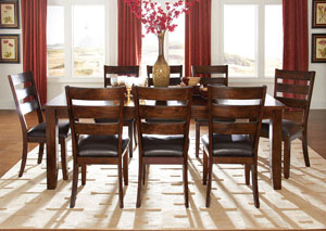 Abaco Warm Dark Tobacco Brown Extension Dining Table w/6 Side Chairs