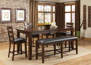 Abaco Warm Dark Tobacco Brown Extension Counter Height Table w/4 Counter Height Chairs