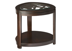 Crackle Dark Merlot Triangular Glass-Inlay End Table w/Geometric Lattices & Shelf