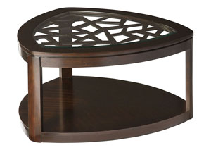 Crackle Dark Merlot Triangular Glass-Inlay Cocktail Table w/Geometric Lattices & Shelf