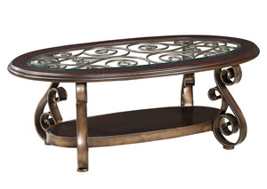 Bombay Scrolled-Metal Grill Cocktail Table w/Wood Glass-Inlay Top & Shelf