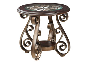 Bombay Scrolled-Metal Grill End Table w/Wood Glass-Inlay Top & Shelf