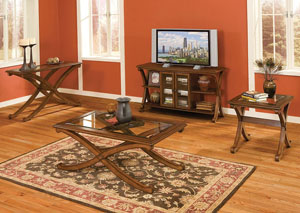 Madrid Golden Brown Cherry Sofa Table w/Glass-Inlay Top