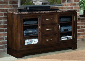 Bella Warm Chocolate Cherry TV Console w/Marbella Top