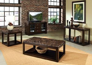 Bella Warm Chocolate Cherry Sofa Table w/Marbella Top & Shelf