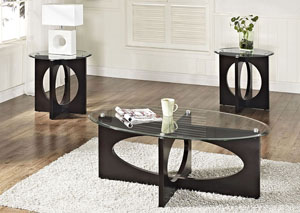 V. Watts Furniture Dania Dark Merlot Occasional Table Set