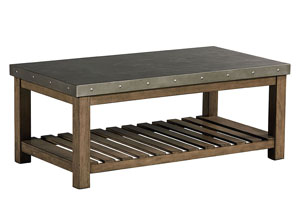 Riverton Weathered Wood Cocktail Table w/Sheet Metal Top & Bottom Shelf