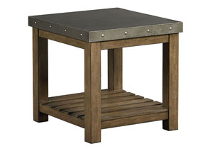 Riverton Weathered Wood End Table w/Sheet Metal Top & Bottom Shelf
