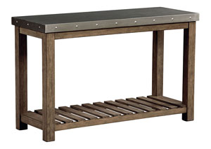 Riverton Weathered Wood Console Table w/Sheet Metal Top & Bottom Shelf