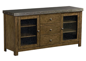 Riverton 60' Weathered Wood Entertainment Console w/Sheet-Metal Top & Bottom Shelf