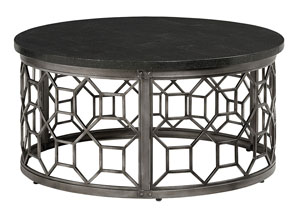 Equinox Round Stone Top Cocktail Table w/Metal Geometric Base