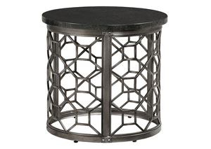 Equinox Round Stone Top End Table w/Metal Geometric Base