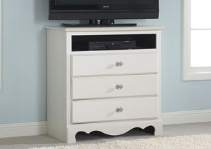 Spring Rose Soft White Media Chest