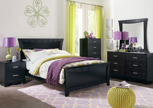 Vogue Glossy Black Faux Crocodile Full Panel Bed w/Dresser, Mirror, Nightstand & Drawer Chest