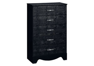 Vogue Glossy Black Faux Crocodile 5 Drawer Chest