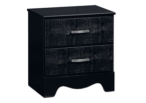 Vogue Glossy Black Faux Crocodile Nightstand