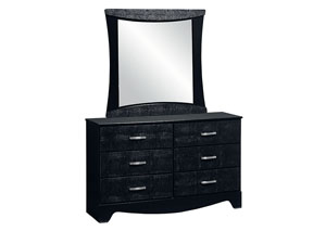 Vogue Glossy Black Faux Crocodile 6 Drawer Dresser