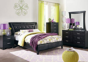 Vogue Glossy Black Faux Crocodile Upholstered Queen Bed w/Dresser, Mirror, Nightstand & Drawer Chest