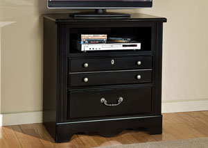 Madera Ebony Black Media Chest w/Marbella Top