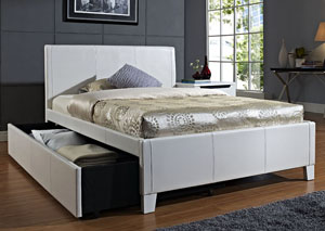 Fantasia White Upholstered Twin Trundle Bed