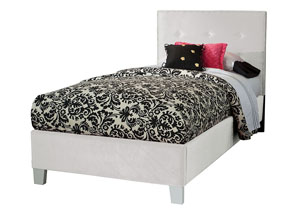 Young Parisian White Velvet Upholstered Twin Bed