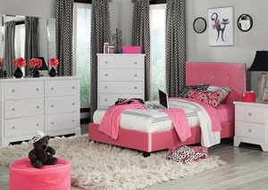 Young Parisian Pink Velvet Upholstered Twin Bed w/Dresser, Mirror and Nightstand
