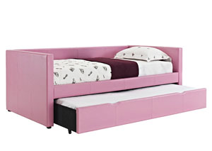 Lindsey Pink Upholstered Twin Daybed w/Pull-Out Trundle