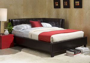 Rochester Black Upholstered Twin Corner Daybed