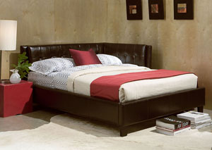 Rochester Brown Upholstered Twin Corner Daybed