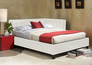 Rochester White Upholstered Twin Corner Daybed