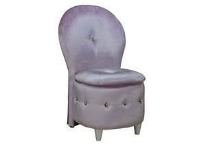 Sit N' Store Lavender Plush Velvet Upholstered Chair w/Storage