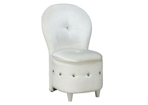 Sit N' Store White Plush Velvet Chair w/Storage