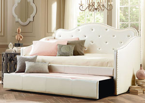 Caroline Pearlescent White Upholstered Twin Daybed w/Pull-Out Trundle
