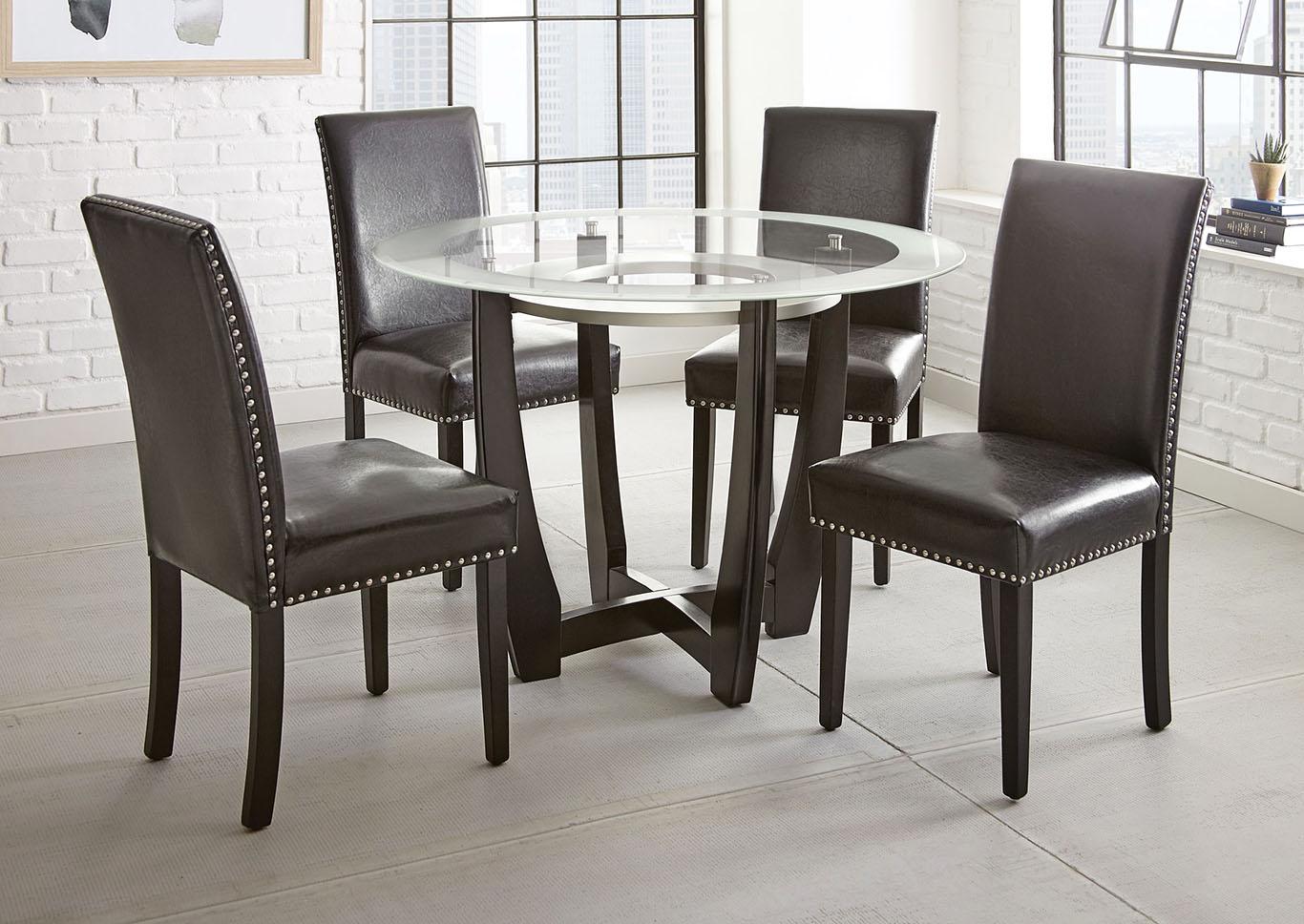 Verano Brown Round Glass Top Dining Set W/ 9 Chairs [Black] Ivan ...